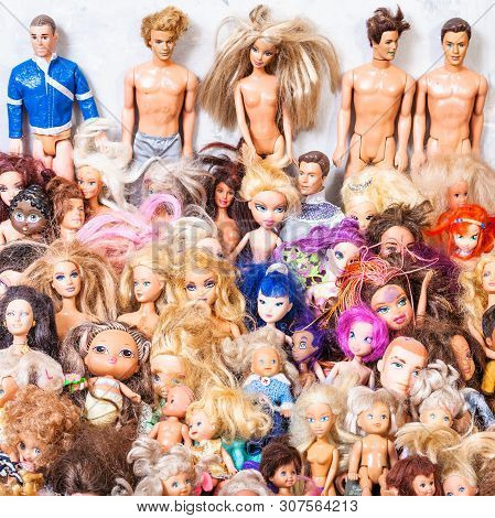 Moscow, Russia - June 17, 2019: Lot Of Various Old Used Fashion Dolls ( Barbie, Ken, Shelly, Chelsea
