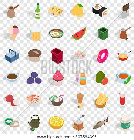 Cookery Icons Set. Isometric Style Of 36 Cookery Vector Icons For Web For Any Design
