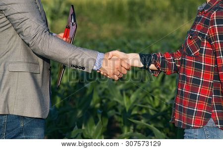 Farmer Woman Shaking Hands With Business Man With Folder, In Corn Field