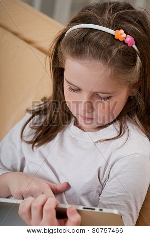 Child Learning With Tablet