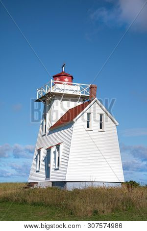 North Rustico lighthouse on Prince Edward Island, Canada. This  lighthouse was coonstructed in 1876 with residence for the keeper attached.