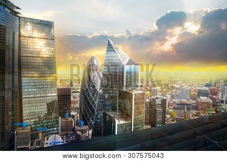 London, Uk - 25 April, 2019: Modern Architecture City Of London, Skyline View Of The Famous Financia