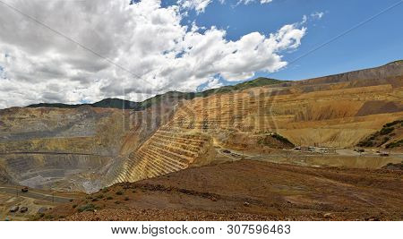 Large Copper Mine Carving Ore From The Mountain Side