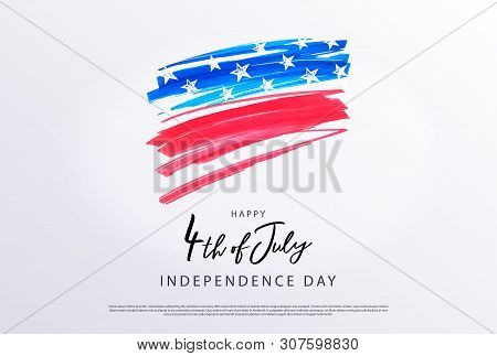 Fourth Of July. 4th Of July Holiday Banner. Stylized Image Of The American Flag, Drawn By Markers. U