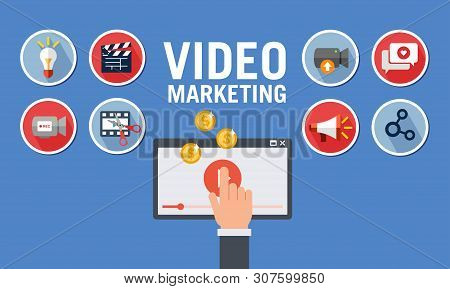 Flat Sticker Icon From A Video Marketing Process To Monetize To A Viral Channel