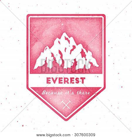 Mountain Everest Outdoor Adventure Insignia. Climbing, Trekking, Hiking, Mountaineering And Other Ex