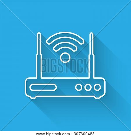 White Router And Wi-fi Signal Symbol Icon Isolated With Long Shadow. Wireless Ethernet Modem Router.