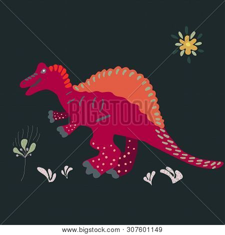 Spinosaurus Hand Illustration On Black Background Cartoon Characters Isolated Design Element. T-shir