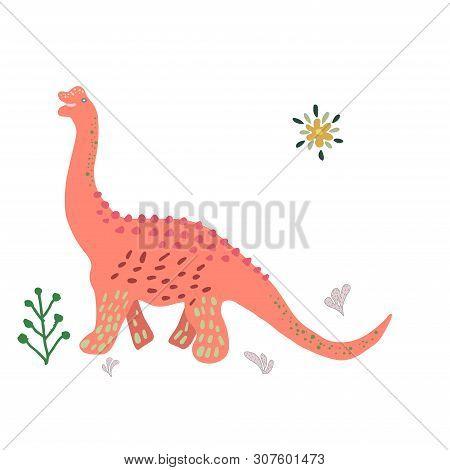 Dinosaur Brachiosaurus Hand Drawn Flat Illustration. Cute Isolated Cartoon Character Illustration. T