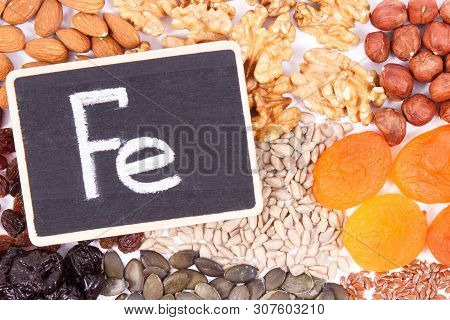 Inscription Fe And Food Containing Iron, Concept Of Healthy Nutrition As Source Natural Minerals, Vi