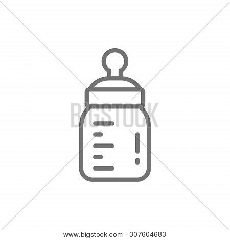 Vector Baby Bottle With Teat Line Icon.