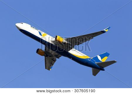 Borispol, Ukraine - June 21, 2019: Ur-azk Azur Air Ukraine Boeing 767-300 Aircraft On The Blue Sky B