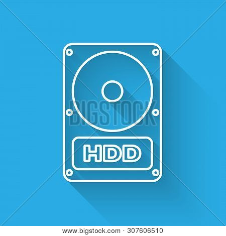 White Hard disk drive HDD icon isolated with long shadow. Vector Illustration poster