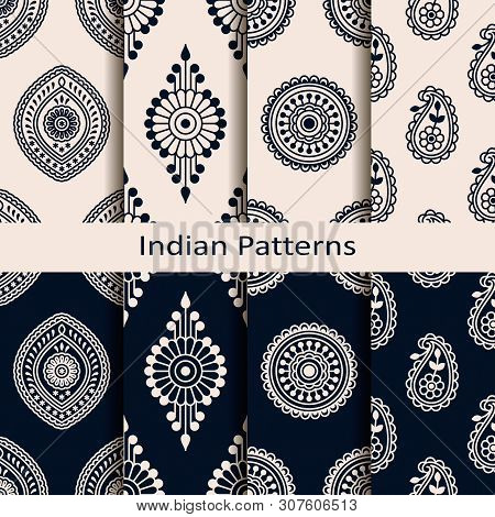 Seamless Vector Set Of Eight Indian Circle Element Patterns. Seamless Template In Swatch Panel. Desi