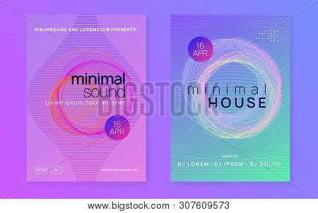 Techno Event. Dynamic Fluid Shape And Line. Trendy Discotheque Magazine Set. Neon Techno Event Flyer