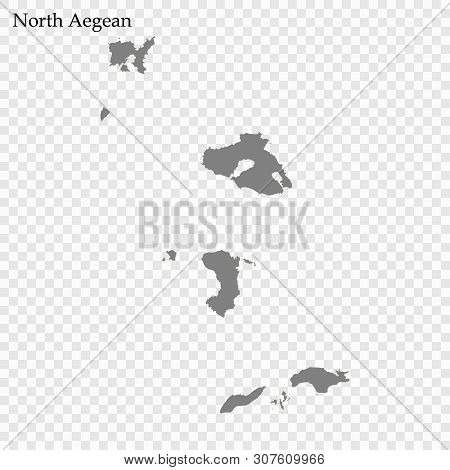 High Quality Map Of North Aegean Is A Region Of Greece, With Borders Of The Regional Units