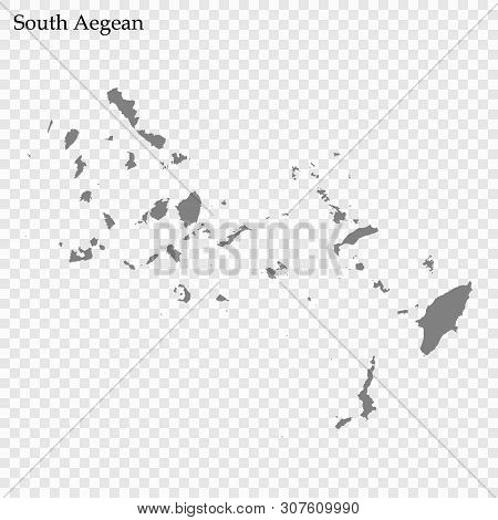 High Quality Map Of South Aegean Is A Region Of Greece, With Borders Of The Regional Units