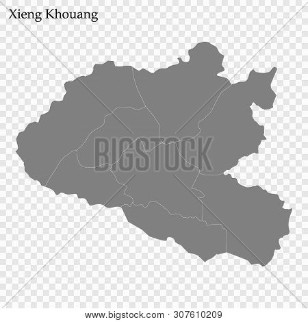 High Quality Map Of Xieng Khouang Is A Province Of Laos, With Borders Of The Districts