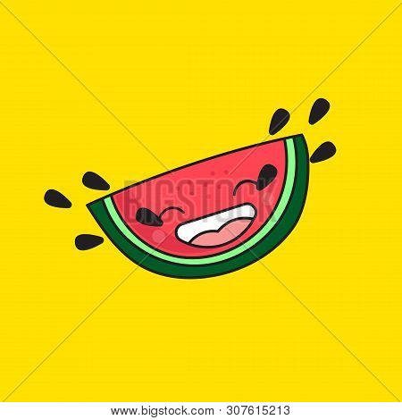Cartoon Watermelon Crying With Laughter Emoticon, Cute Doodle Watermelon Laughing With Tears Seeds,