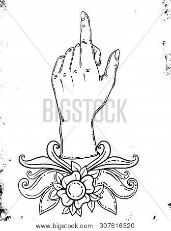 Line Drawing Of A Hand With An Index Finger Pressing On A Conceivable Button, Sketch Of A Hand, Inde