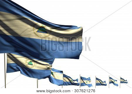 Nice Holiday Flag 3d Illustration  - Many Nicaragua Flags Placed Diagonal Isolated On White With Pla