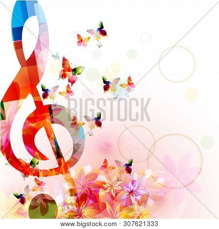 Music Background With Colorful G-clef And Butterflies Vector Illustration Design. Artistic Music Fes