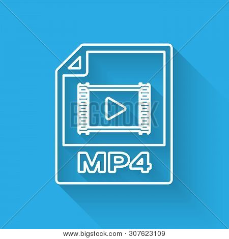 White Mp4 File Document Icon. Download Mp4 Button Line Icon Isolated With Long Shadow. Mp4 File Symb