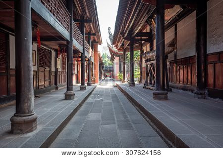 Chengdu, Sichuan Province, China - June 6, 2019 : Wenshu Buddhist Monastery Alley On A Sunny Day