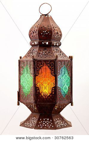 Lantern With Colored Stained Glass