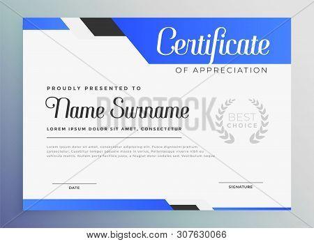 Professional Blue Certificate Of Appreciation Template Vector Illustration