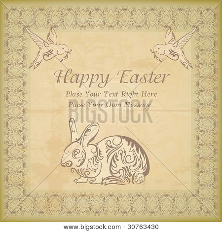 Ancient, vintage card with  rabbit and the birds stylized Drawed  with ornaments and patterns on them