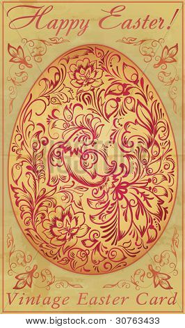 The vintage easter card with a pattern in the form of a bird