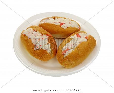 Three Crabmeat Filled Finger Rolls