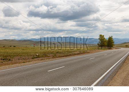 Asphalt Road Ulan-ude - Kyakhta, Selenginsky District, Buryatia, Russia