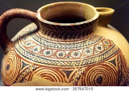 Jug From The Excavations In Greece. Painted Archeological Pottery. Remains Of Ancient Greek Culture.