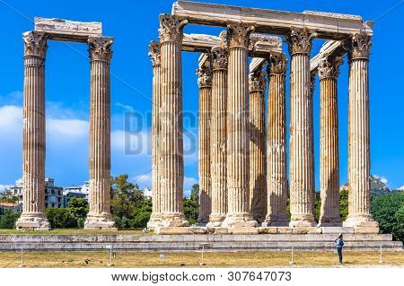Temple Of Olympian Zeus, Athens, Greece. It Is A Famous Tourist Attraction Of Athens. Panorama Of Th