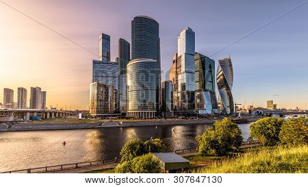 Moscow-city Skyscrapers At Sunset, Russia. Moscow-city Is Modern Business District At Moskva River.