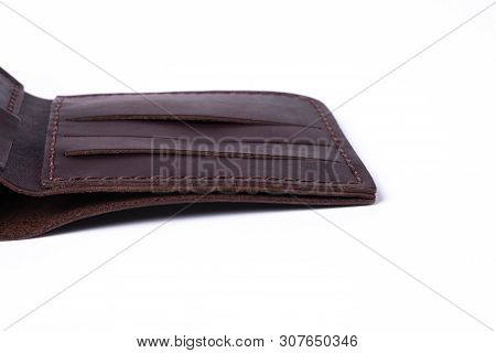 A Part Of Brown Handmade Leather Man Wallet Isolated On White Background. Wallet Is Open. Stock Phot