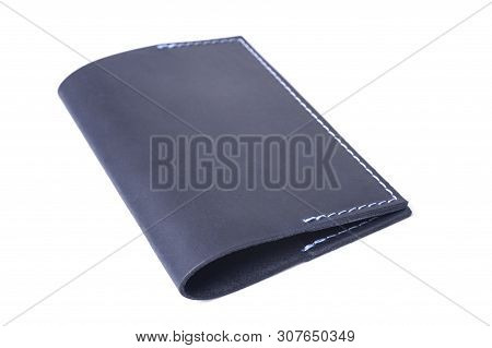 Blue Handmade Leather Passport Cover Isolated On White Background. Cover Is Closed. Stock Photo Of L