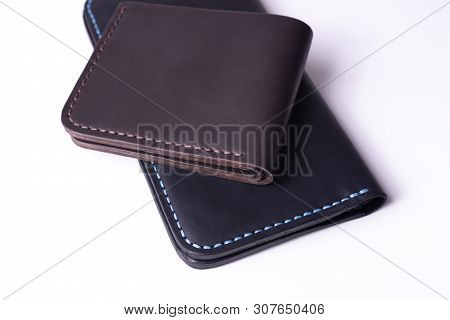 Handmade Leather Black Purse And Brown Wallet Isolated On White Background. Stock Photo Of Luxury Ac