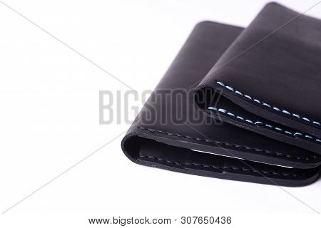 Two Handmade Leather Black Purse Isolated On White Background. Stock Photo Of Luxury Accessories.