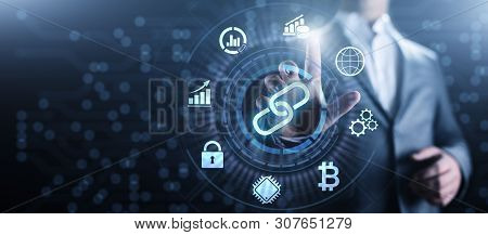 Blockchain Cryptocurrency Financial Technology Concept On Screen.
