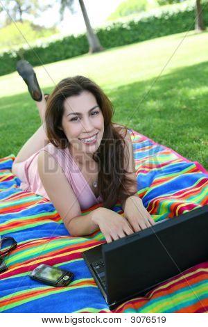 Cute Woman In Park