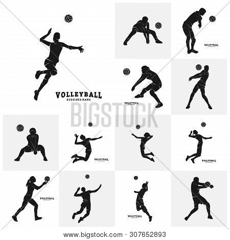 Set Of Volleyball Player Vector. Silhouette Of Volleyball Player. Vector Illustration