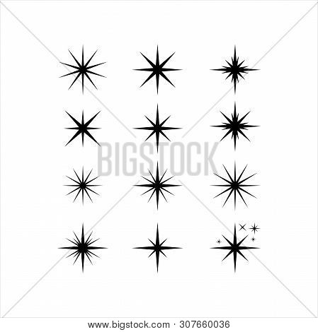 Star Icons. Twinkling Stars. Sparkles, Shining Burst. Christmas Vector Symbols Isolated. Xmas Sparkl