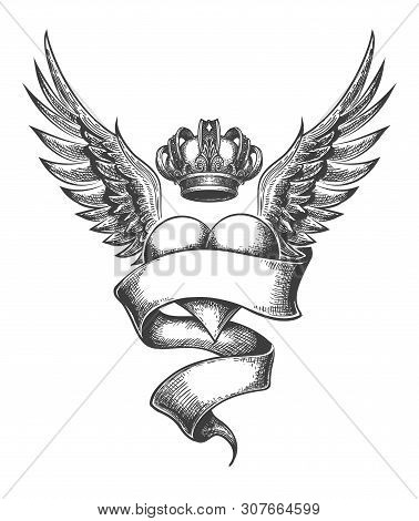 Heart With Crown And Wings Tattoo In Engraving Style. Vector Illustration.