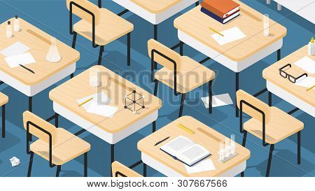 Vector Isometric Illustration Of Chemistry Classroom. Classroom Laboratory With Necessary Equipment,
