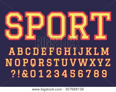 Embroidery Font. Sewing Alphabet Letters, College Football Team Embroidered Patch Lettering And Embr