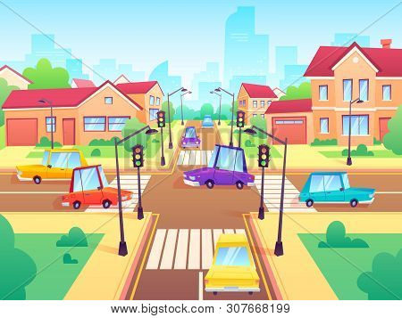 Crossroad With Cars. City Suburb Traffic Jam, Street Crosswalk With Traffic Lights And Road Intersec