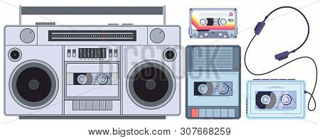 Retro Tape Player. Vintage Cassette Music Players, Old Sound Recorder And Audio Cassettes. Stereo Ac